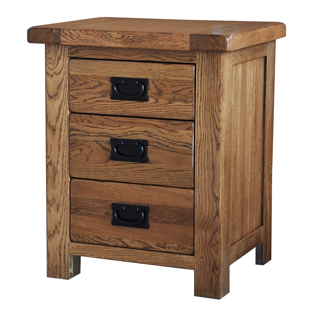 39 country oak 39 bedside table 3 drawers realwoods for Bedroom table