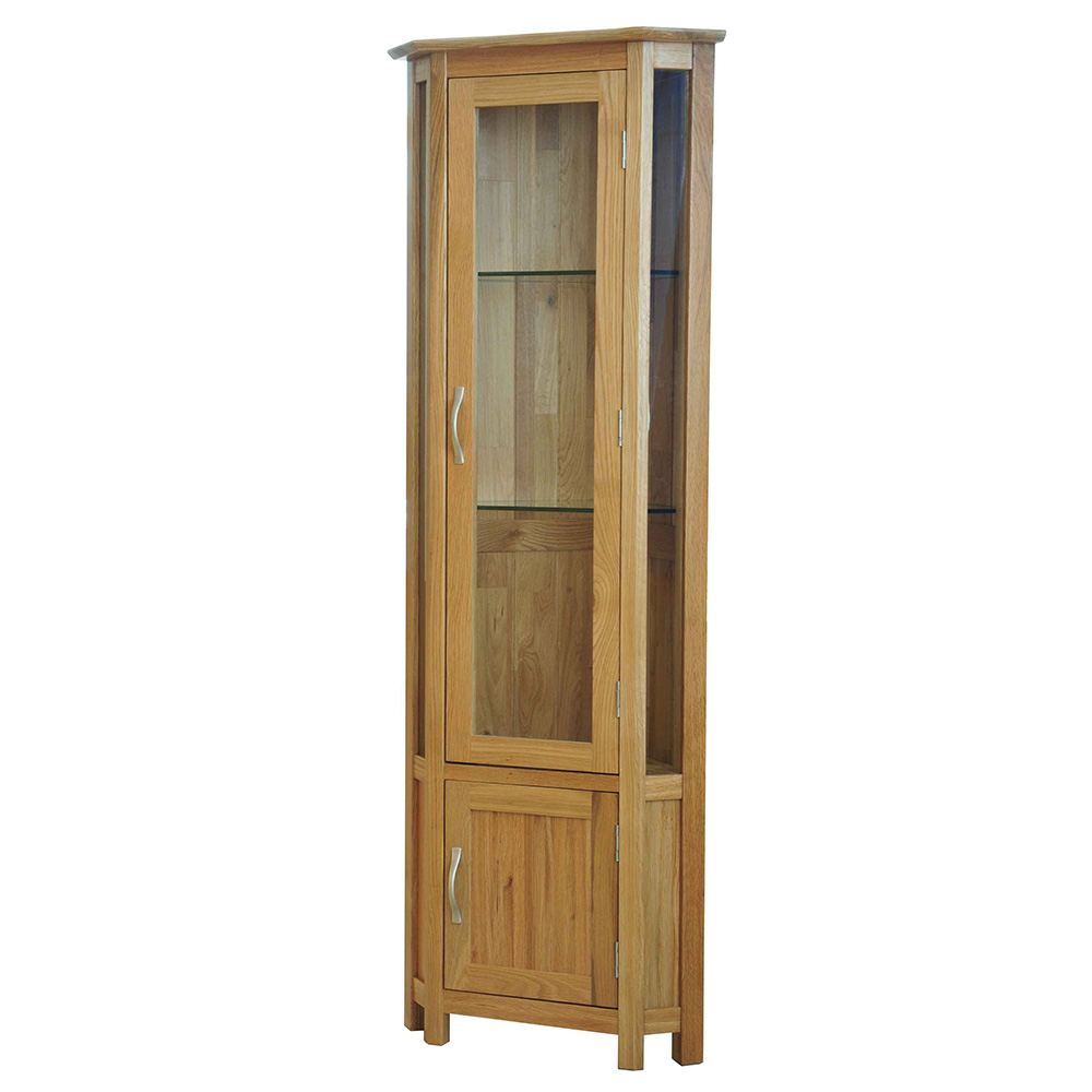 Solid oak glass corner display cabinet sherwood oak for Corner cabinet