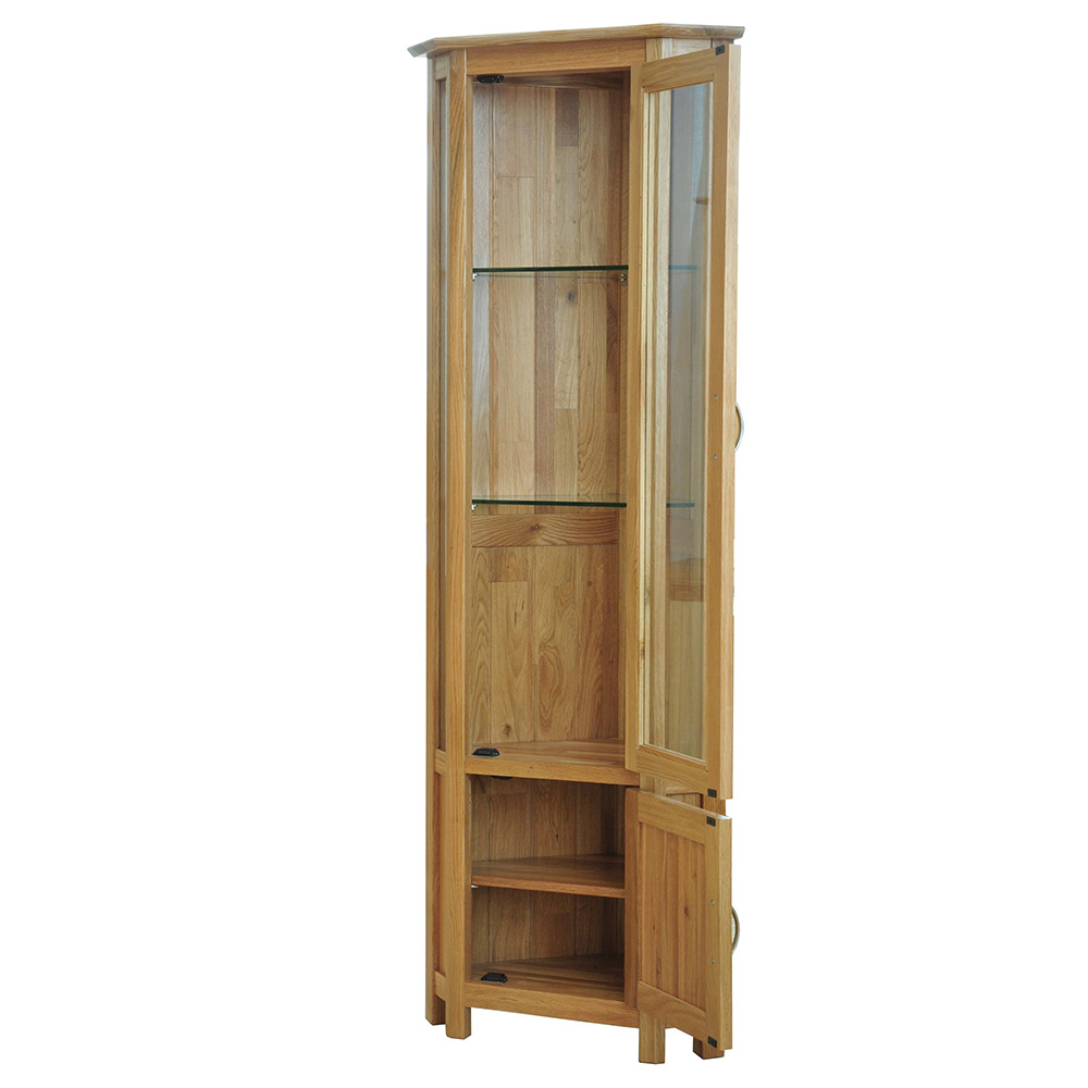 39 sherwood oak 39 oak glass corner display cabinet realwoods for Corner cabinet