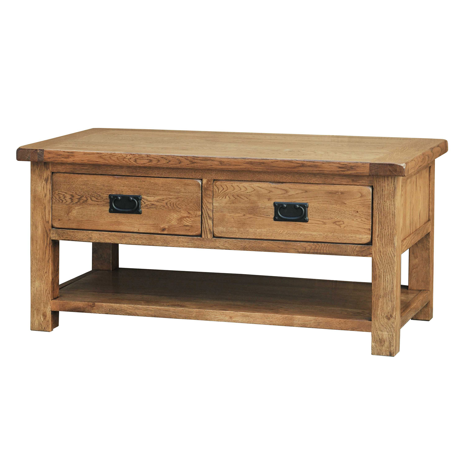 39 Country Oak 39 Coffee Table With Drawers Realwoods