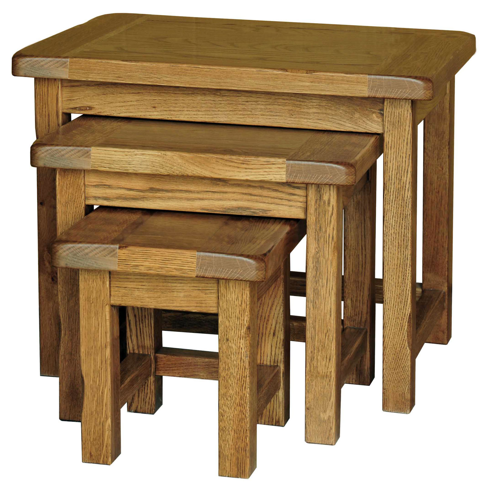 39 country oak 39 nest of tables three tiers included for Small nest of tables