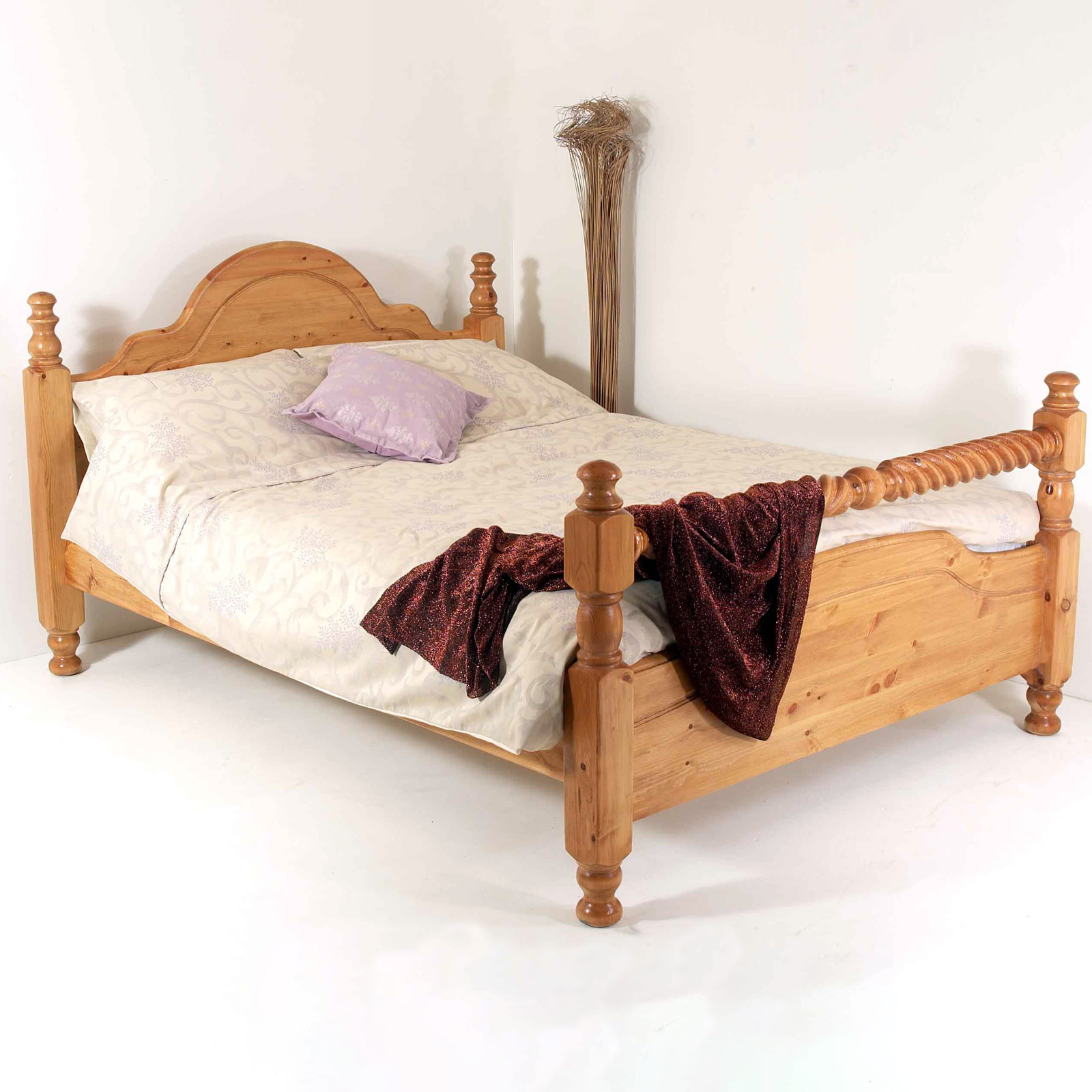 5ft King Size Solid Wood Bed Frame Hidden Fittings Barley Twist Ebay