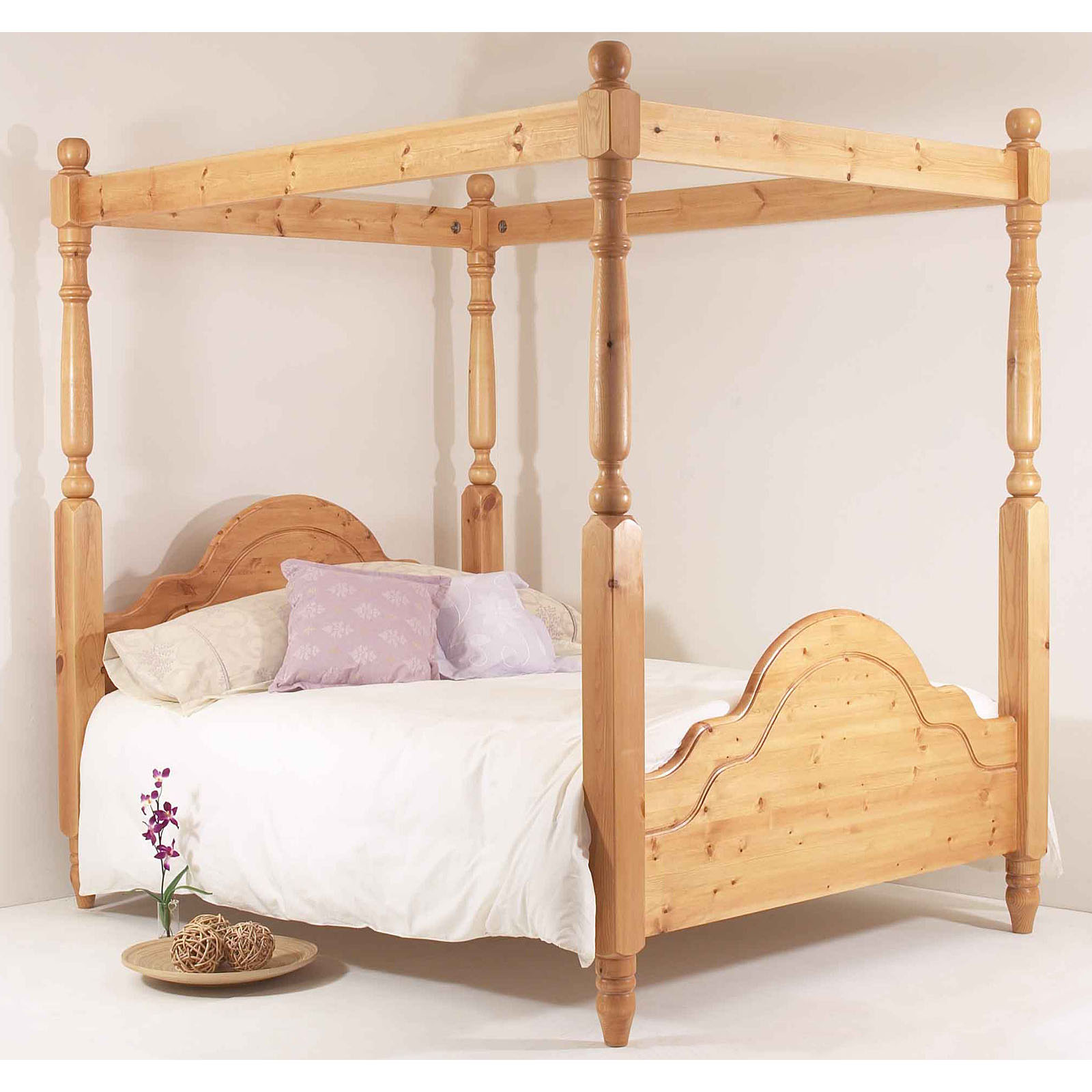 5ft Classic Four Poster Bed King Size High Foot End