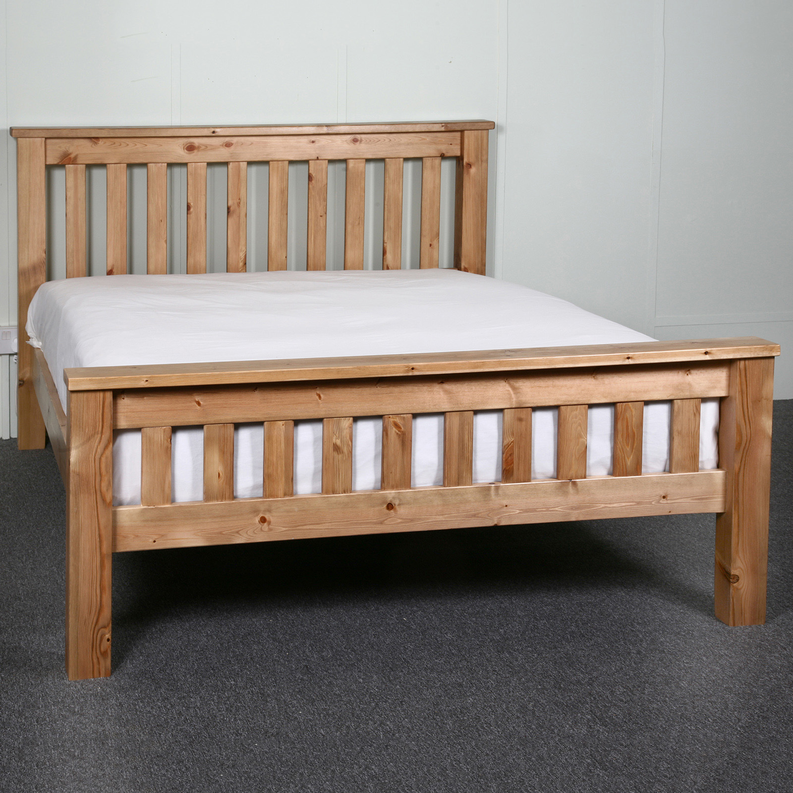 5ft King Size Chunky Slatted Solid Wood Bed Frame High Foot End Ebay
